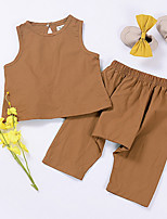 cheap -Girls' Daily Solid Colored Clothing Set, Polyester Summer Sleeveless Cute Brown