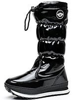 cheap -Women's Shoes Patent Leather Fall Winter Fashion Boots Snow Boots Boots Flat Heel Knee High Boots for Outdoor Black
