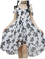 cheap -Girl's Daily Holiday Floral Dress, Cotton Polyester Summer Sleeveless Active Boho White Black