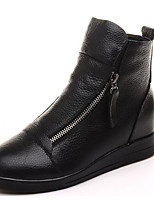 cheap -Women's Shoes Cowhide Fall Winter Fashion Boots Boots Low Heel Booties / Ankle Boots for White Black Red