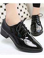 abordables -Femme Chaussures Cuir Verni Printemps Automne Confort Oxfords Talon Bottier pour Noir Bourgogne