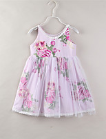 cheap -Girl's Daily Going out Floral Dress, Cotton Polyester Summer Sleeveless Cute Active White