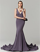 cheap -Mermaid / Trumpet Plunging Neckline Court Train Jersey Prom / Formal Evening Dress with Pleats by TS Couture®