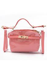 cheap -Women's Bags PVC(PolyVinyl Chloride) Shoulder Bag Zipper Silver / Red / Blushing Pink