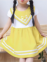 cheap -Toddler Girls' Solid Colored Short Sleeve Above Knee Dress / Cotton / Cute