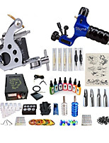 cheap -Tattoo Machine Starter Kit 1 steel machine liner & shader 1 rotary machine liner & shader Professional Level LCD power supply 2 x