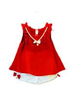 cheap -Girls' Going out Holiday Solid Colored Clothing Set, Cotton Acrylic Spring Summer Sleeveless Vintage Cute Red