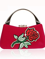 cheap -Women's Bags Evening Bag Crystal Detailing Embroidery Flower for Wedding Event / Party All Seasons Black Orange Red Almond Fuchsia