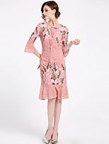baratos -Mulheres Sofisticado Moda de Rua Manga Alargamento Bainha Sereia Vestido - Renda Bordado, Floral Médio