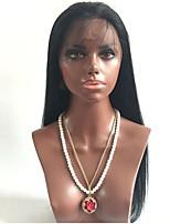 Недорогие -Необработанные Парик Бразильские волосы Прямой С конским хвостом 130% плотность С детскими волосами Природные волосы Черный Короткие