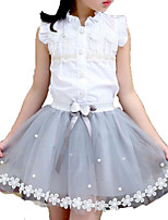 cheap -Girls' Daily Going out Solid Colored Print Clothing Set, Cotton Rayon Summer Sleeveless Cute Active White