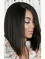 cheap -Virgin Human Hair Wig Peruvian Hair Straight Short Bob Bob Haircut 130% Density With Baby Hair For Black Women Black Short Long Mid Length
