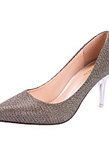 abordables -Mujer Zapatos PU microfibra sintético Verano Confort Tacones Tacón Stiletto Dedo Puntiagudo Dorado / Negro / Plata