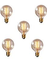 Недорогие -5 шт. 40 Вт E26/E27 G80 Тёплый белый 2200-2700k К Ретро Диммируемая Декоративная Лампа накаливания Vintage Эдисон лампочка 220-240V