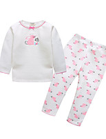 cheap -Girls' Daily Print Clothing Set, Cotton Spring Long Sleeves Cute White