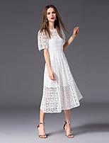 cheap -FRMZ Women's Slim A Line Dress - Solid Colored Lace Cut Out