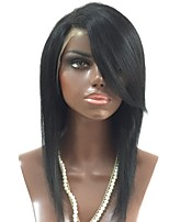 cheap -Unprocessed Wig Brazilian Hair Straight Side Part Layered Haircut 130% Density With Bangs For Black Women Black Short Long Mid Length