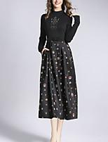 economico -Per donna Taglia piccola Linea A Vestito - Con perline / Con fiocco / Con stampe Girocollo Medio