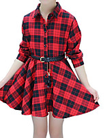 cheap -Girl's Daily Holiday Print Plaid Dress, Cotton Polyester Spring Fall Long Sleeves Cute Active Red