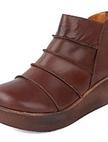 cheap -Women's Shoes Cowhide Fall Winter Combat Boots Boots Flat Heel Round Toe Booties / Ankle Boots for Casual Coffee Burgundy