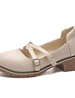 abordables -Femme Chaussures Polyuréthane Printemps Confort Oxfords Talon Bas Bout rond pour Gris Amande