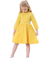 baratos -Menina de Vestido Diário Feriado Sólido Primavera Outono Algodão Manga Longa Fofo Activo Preto Amarelo