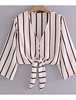 baratos -Mulheres Blusa Básico Estampado, Listrado