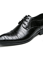 cheap -Men's Patent Leather / Cowhide Fall & Winter Comfort Oxfords Color Block Black