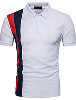 cheap -Men's Basic Street chic Polo - Striped Color Block, Patchwork