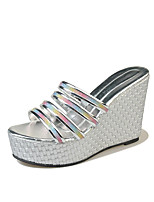 cheap -Women's Shoes PU Summer Comfort Slippers & Flip-Flops Wedge Heel Round Toe for Gold Black Silver
