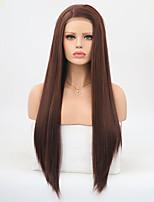 Недорогие -Синтетические кружевные передние парики Матовое стекло / Шелковисто-прямые Темно-коричневый Боковая часть Темно-рыжий Искусственные волосы 24 дюймовый Жен. Регулируется / Жаропрочная / пушистый