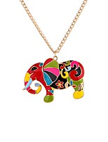 cheap -Men's Colorful Elephant Pendant Necklace  -  Casual Colorful Ethnic Rainbow 65cm Necklace For Gift Festival