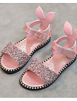 cheap -Girls' Shoes Paillette Leatherette Summer Comfort Sandals for Casual Black Silver Pink