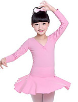 cheap -Ballet Dresses Girls' Training Performance Cotton Satin Bow Long Sleeves Natural Dress