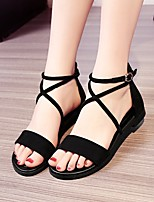 cheap -Girls' Shoes Nubuck leather Summer Comfort Sandals for Casual Black Gray Almond