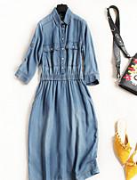 abordables -Mujer Vintage Chic de Calle Línea A Camiseta Vaqueros Vestido Un Color Maxi