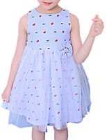 cheap -Girl's Daily Print Dress, Polyester Spring Summer Sleeveless Cute Blue Blushing Pink