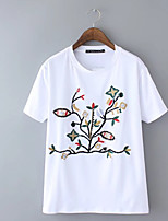 cheap -Women's Holiday Basic Loose T-shirt - Floral Embroidered