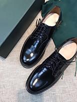abordables -Femme Chaussures Cuir Printemps Automne Confort Oxfords Talon Bas Bout rond pour Noir Marron