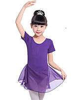cheap -Ballet Dresses Girls' Training Performance Cotton Satin Bow Short Sleeves Natural Dress