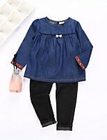 cheap -Girls' Print Clothing Set, Cotton Polyester Spring Long Sleeves Navy Blue