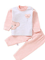 cheap -Unisex Daily Holiday Print Clothing Set, Cotton Spring Summer Long Sleeves Cute Blushing Pink Beige Light Blue