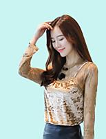baratos -Mulheres Camiseta Negócio Básico Renda Vazado Patchwork, Sólido