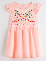 cheap -Girl's Daily Jacquard Dress Summer Short Sleeves Cute Basic Blushing Pink