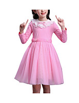 cheap -Girl's Solid Colored Dress, Cotton Spandex Spring Summer Long Sleeves Cute Active Blushing Pink Purple