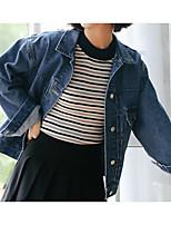 baratos -Mulheres Jaqueta jeans Fofo-Sólido