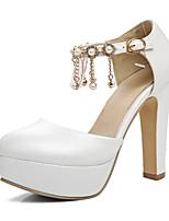 abordables -Femme Chaussures PU de microfibre synthétique Printemps / Automne Confort / Nouveauté Chaussures à Talons Talon Bottier Bout rond Strass