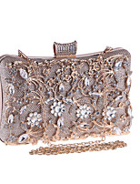 cheap -Women's Bags Metal Evening Bag Crystals for Wedding / Event / Party Champagne / Black / Silver