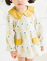 cheap -Girl's Daily Print Dress, Polyester Summer Long Sleeves Basic Blue Blushing Pink Yellow