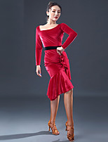 abordables -Danse latine Robes Femme Utilisation Mousseline de Soie Velours Combinaison Manches Longues Robe